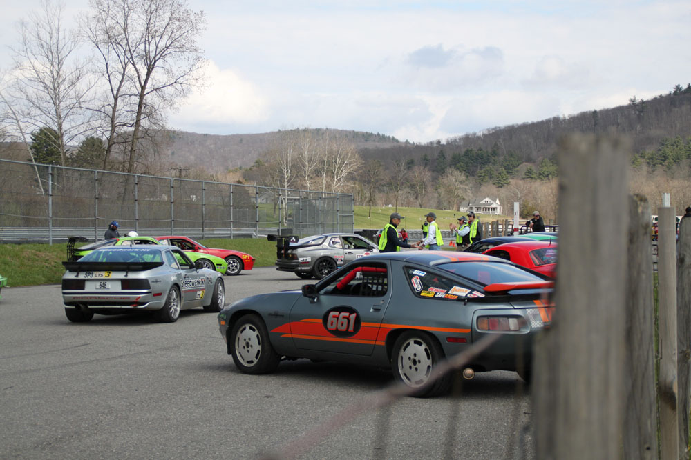Start of grid prior to race at Lime Rock; #3661 is 928. Class C of John H Shafer