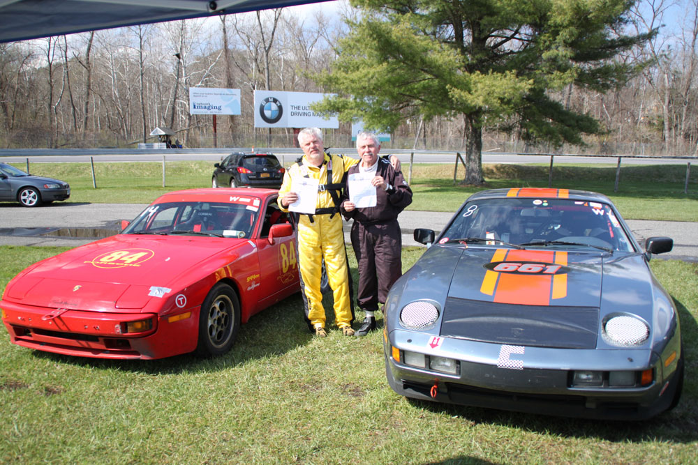 "Chris Klapper and John H Shafer by their Club Race Cars having just graduated from ""Rookie status"" at Lime Rock"